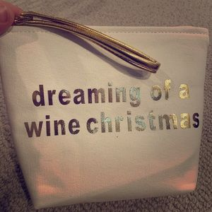 Brand new canvas Wine Christmas pouch